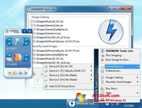 Zrzut ekranu DAEMON Tools Lite na Windows 10