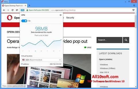 Zrzut ekranu Opera na Windows 10