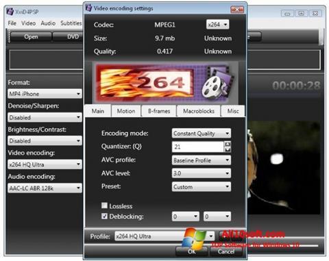 Zrzut ekranu XviD4PSP na Windows 10