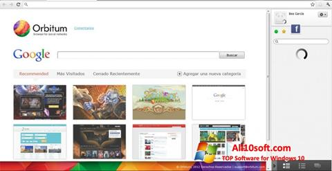 Zrzut ekranu Orbitum na Windows 10