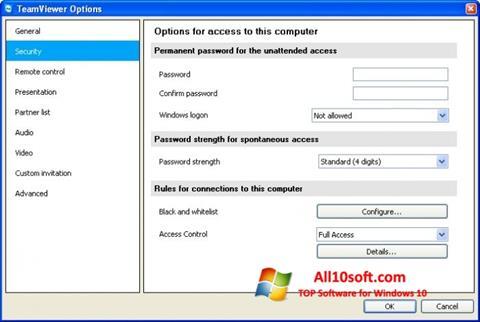 Zrzut ekranu TeamViewer na Windows 10