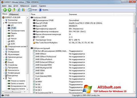 Zrzut ekranu EVEREST na Windows 10