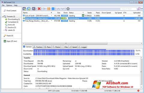 Zrzut ekranu BitTorrent na Windows 10
