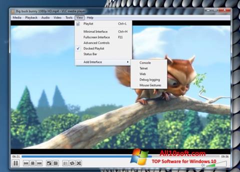 Zrzut ekranu VLC Media Player na Windows 10