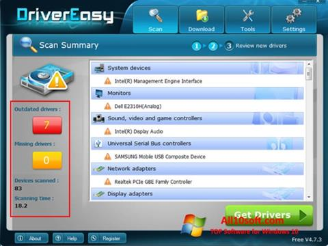 Zrzut ekranu Driver Easy na Windows 10