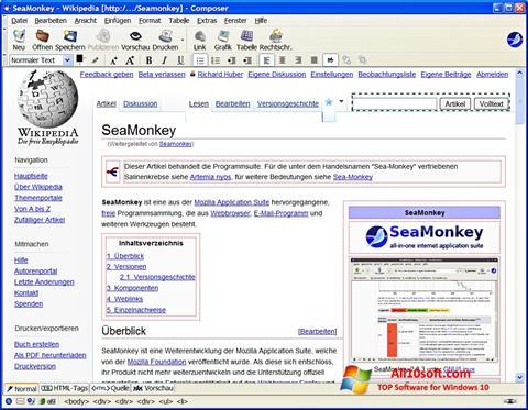 Zrzut ekranu SeaMonkey na Windows 10