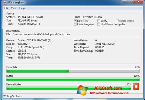 Zrzut ekranu ImgBurn na Windows 10
