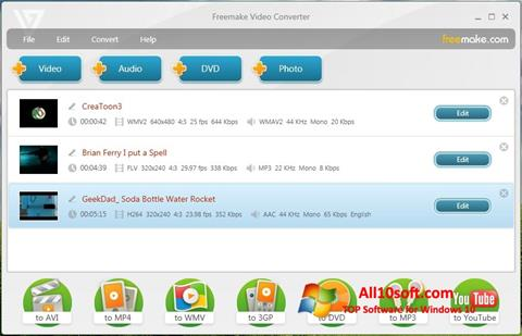 Zrzut ekranu Freemake Video Converter na Windows 10