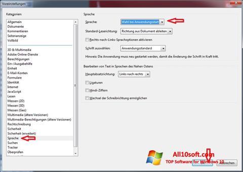 Zrzut ekranu Adobe Reader na Windows 10